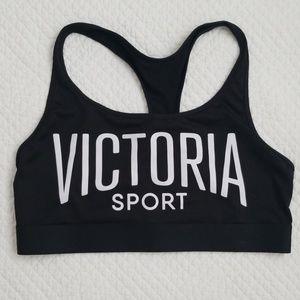 Victoria Sport Bra Black w White Logo Size L